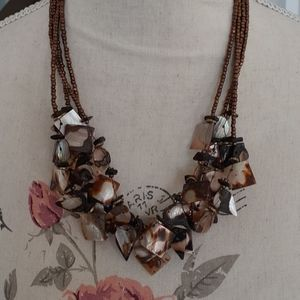 Bronze bead and shell statement necklace